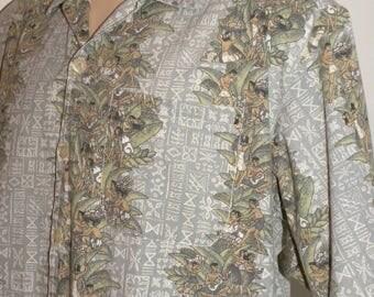 1980s 80s HAWAIIAN Shirt / camp / Aloha Hula Dancers Island Print / EDU For Men / Vintage XL