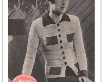 1930s Cardigan/Blouse Vintage  Knitting Pattern - PDF Knitting Pattern - PDF Instant Download