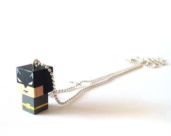 """Collier chaîne bille pendentif figurine cubique """"Batman"""""""