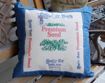 Vintage Seed Sack Pillow Cover - 18 x 18 with Blue Denim