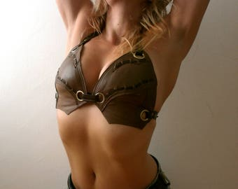 Dream Warriors tan and brown leather halter bra/bikini top. Pagan barbarian amazon post apocalyptic steampunk style fantasy fashion