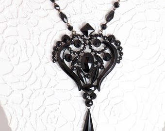 Antique 1800s Victorian Necklace Black Vauxhall Glass French Jet Pendant Early Japanned Enamel Metal Victorian Mourning Jewelry