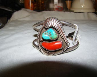 1-I Native American Sterling, Turquoise, and Coral Bracelet