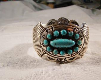 1-J Native American Stamped Sterling-JS, Turquoise  Bracelet