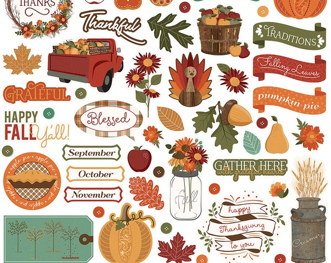 1 - 12x12 Sheet of Photo Play AUTUMN ORCHARD Scrapbook Element Stickers