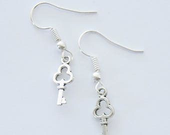 Tiny Key Earrings, Key Jewelry, Skeleton Key Earrings, Birthday Gifts, Gifts for Mom, Girlfriend Gift, Silver Earrings