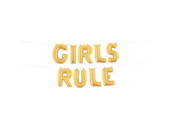 Girls Rule Sign, Girls Rule Balloons, Girl Power Party
