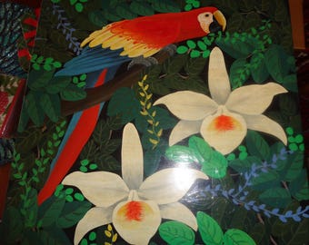 Magnificent Haitian Wooden Box, Hand-Painted and Signed