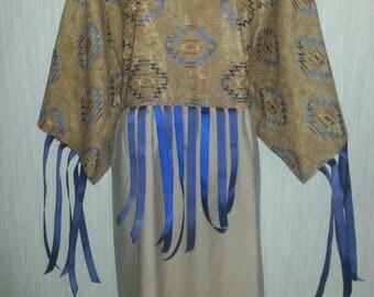 2X, 1X or Large, Native  American indian ribbon dress and leggings. Pow-wow regalia