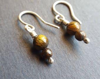 Stone Earrings, Sterling Silver Earrings, Hypo Allergenic Earring, Tigers Eye Stone Earring, Handmade Wire Wrap, Golden Brown Earrings