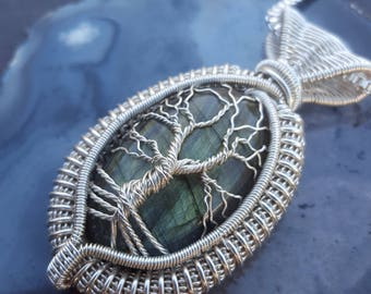 Tree of Life Necklace Sterling Silver, Wire Wrapped Tree of Life Pendant, Labradorite Tree Necklace, Labradorite Pendant Wire Wrap, Gifts