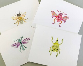 8 Notecards - Colorful Bugs by Cat Likes Cake