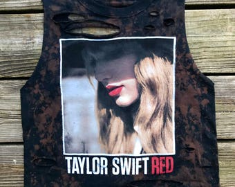 TAYLOR SWIFT Black Bleached Rebel Fray Custom Distressed Tank Top Shirt Women's S