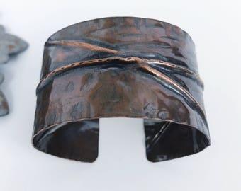 Rocker cuff bracelet 2, Rustic cuff, modern, hammered cuff bracelet, fold form copper cuff, handmade artisan, Twisted Designs by Beth