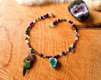 Ethnic necklace, Labradorite, silver, feathers, onyx, Amethyst
