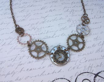 Clock and gears steampunk necklace