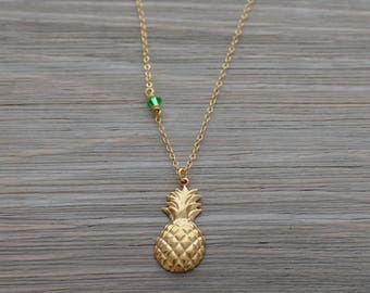 Pineapple Necklace - Gold Pineapple Necklace - Psych Fan Necklace - Pineapple - Dainty Pineapple Necklace