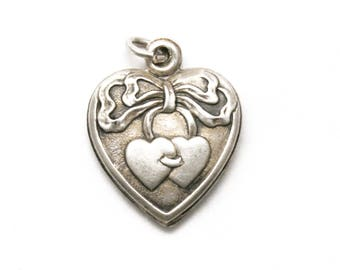 Two Hearts with Ribbon Puffy Heart Bracelet Charm Vintage 1940's Sterling Silver