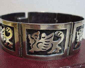 OVERLAY PANEL BRACELET Sterling Silver Mexico 25 Grams Pre-Eagle Old