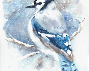 Original watercolor painting blue jay bird in winter wall decor home decor kid's room decor 11x14""
