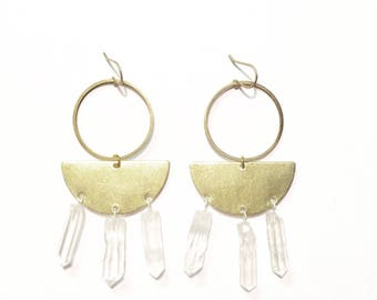 Deimos Earrings with Brass Half Moons and Quartz Crystals