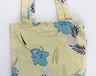 Floral Tote Bag - OOAK - Tote Bag - Yellow Tote Bag - Blue Flower Bag - Project Bag - Birthday Gift - Cotton Tote Bag - Vintage Tote Bag