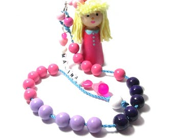 Calculation chain counting with name, counter Counting chain Wood doll, kids learning beads enrollment