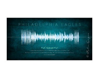 Philadelphia Eagles Sound Wave Art - Unique Gift Featuring Eagles Fight Song - Perfect Birthday Wedding or Anniversary Gift - UNFRAMED Print
