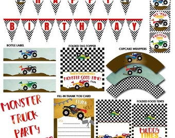 Monster TRUCK Party Printable, Monster Truck Printable, Monster Truck, Monster Truck Party, Digital, Birthday Party, Truck, INSTANT DOWNLOAD