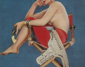 1950's Sexy Pinup All's Fair In Love & War Calendar Art Print - Free Shipping