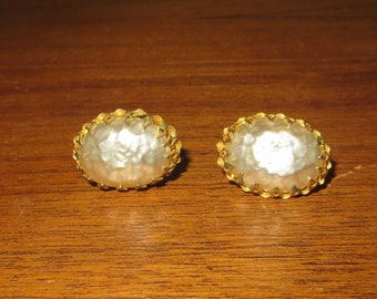 Vintage Signed Miriam Haskell Gold Gilt Pearl Rhinestone Earrings - Free Shipping