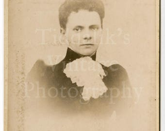 Cabinet Card Photo - Victorian Young Woman with Lace Cravat, Short Hair Serious Looking Portrait - J Long of Cardiff Wales - Antique Photo