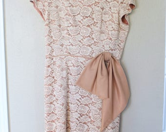 vintage nude & cream lace overlay dress *