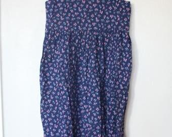 vintage 1980s navy blue liberty floral empire waist jumper dress