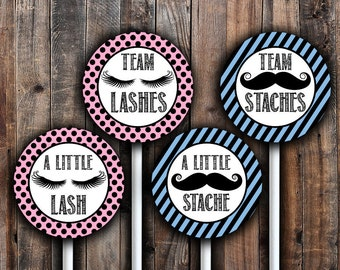 Staches or lashes cupcake toppers or gift tag printable.  Instant download.
