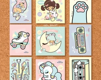 Chic kawaii postcards set of 9. Super cute!