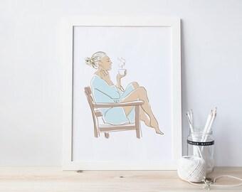 Fashion Illustration, Fashion Print, Coffee Break,Tea Time, A4, Mum's Life