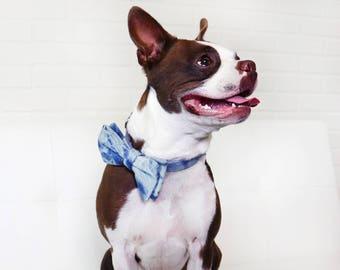 Medium Tie Dye Bow Tie and Leash Set Denim Upcycled Repurposed Collar with Detachable Bow Tie Small Medium Dog Adjustable