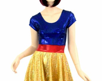 Snowy Princess Gold on Gold Shattered Glass Skater Dress with Blue Sparkly Jewel Bodice and Red Sparkly Jewel Waistband Spandex - 154736