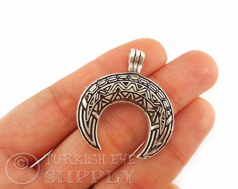 Tribal Crescent Pendant, Antique Silver Plated Horn Pendant, Silver Plated Horn, Crescent Moon, Ethnic Jewelry, Turkish Jewelry