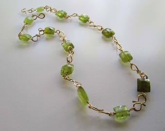 Green Tourmaline and Hammered Gold Fill Necklace, Chain Link Necklace, Ancient Style Necklace, Tourmaline Necklace