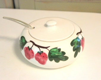 Vintage Sugar Bowl Jam with Lid Plastic Spoon Large California Pottery Hand Painted Strawberry Pattern Retro Collectible Kitchen Home Decor