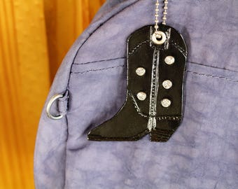 Cowgirl Boot Leather Bag Charm, Cowboy Boot Black Handbag Charm, Crystal Bling Line Dancing Boots Bag Charm, Country Girl Purse Charm CBB179