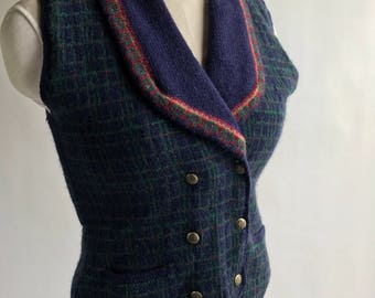 Vintage Wool Blue and Green Double Breasted Sweater Vest Size Small