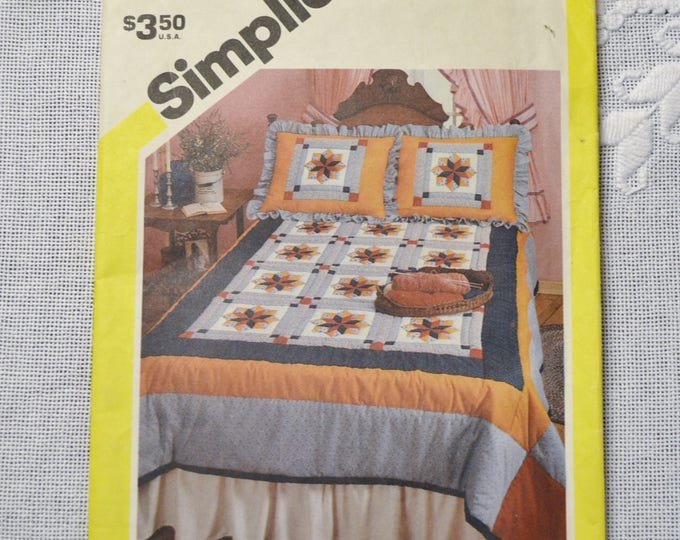 Vintage Simplicity 6145 Sewing Pattern Patchwork Quilt One Size Crafts  DIY Sewing Crafts PanchosPorch
