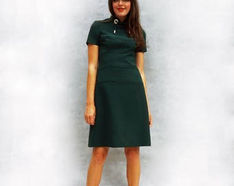 Louis Feraud Dress, Vintage Green Dress, Mandarin Collar Dress, Vintage Louis Feraud, 80s Dress, Short Sleeve Dress, Modest Dress, Neck Tie