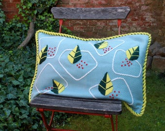 Pair of vintage pillow slips, unused cushion cover, pillow case, cushion embroidered wool mid century 50s 60s 50 cm x 65 cm big size