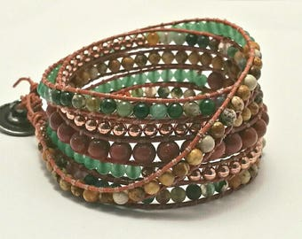 Chan Luu style leather wrap bracelet/cuff.  Boho Rose-gold and semi-precious gemstones.jasper, aventurine, goldstone,Indian Agate Bracelet