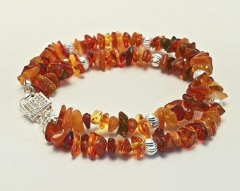 Baltic Amber and 925 sterling silver bracelet. Ideal xmas gift for her.