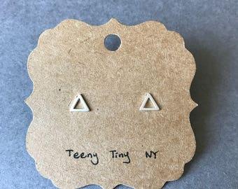 Silver Matte Triangle Stud Earring Type 3 -  Sterling Silver [SE1037]